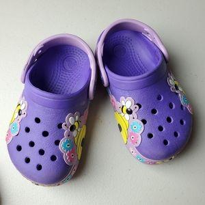 Crocs Purple W/ Floral & Bees Design Size C8